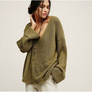 Free People La Brea Oversize V-Neck Chunky Sweater